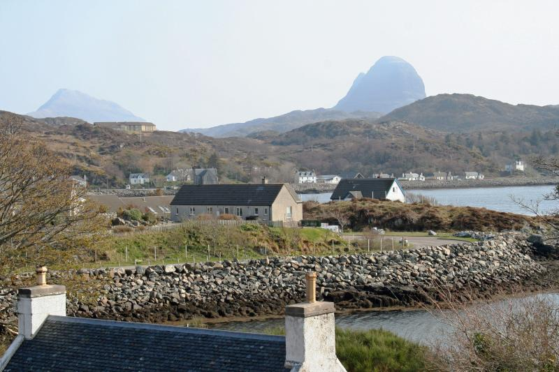 Pottery House looking over Lochinver to Suilven