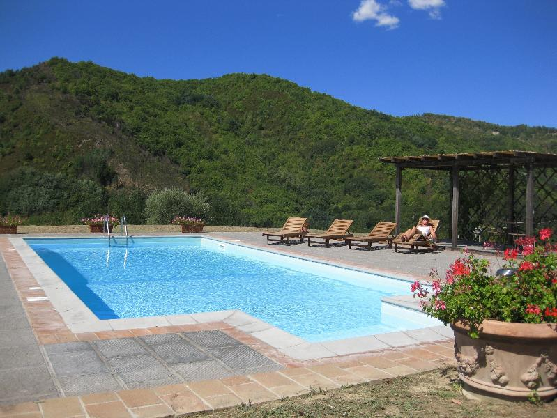 The pool with shaded gazebo and stunning views