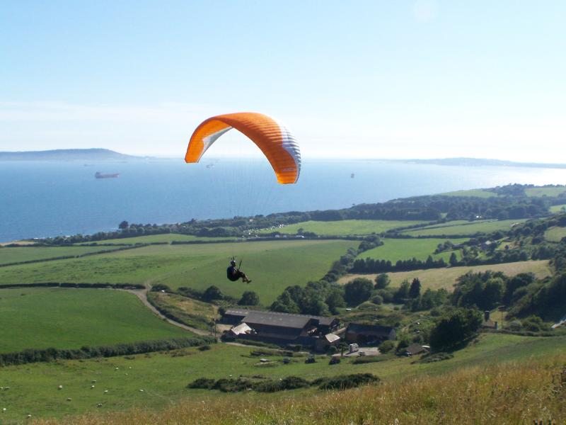 Kite over Ringstead village, Weymouth Bay. (2 mile) from Paradise Villa