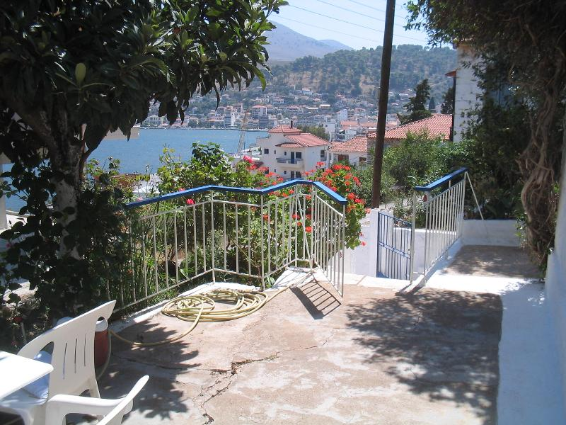 Front garden and view to town and sea