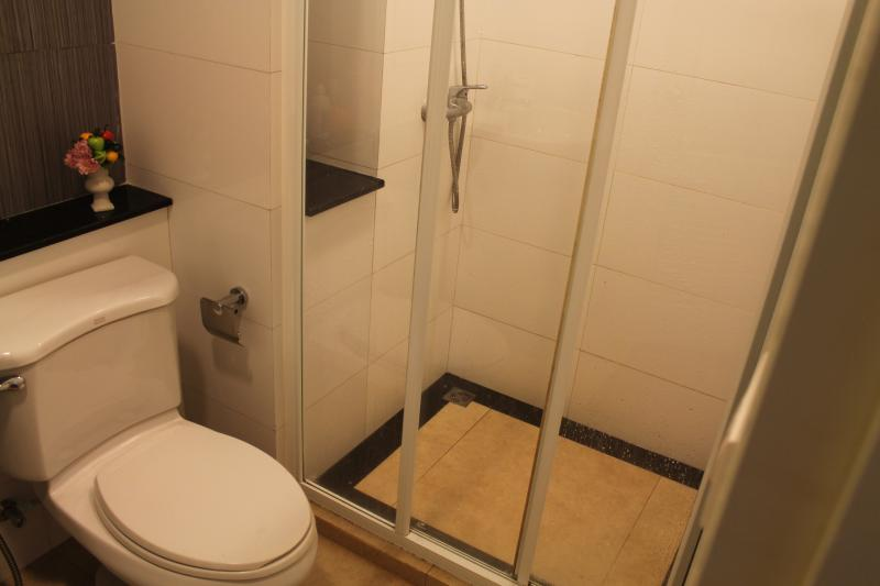 The shower room with toilet, hot water