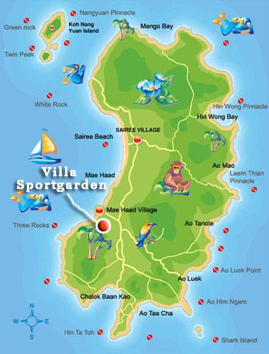 Map Koh Tao and where Villa Sport Garden is located