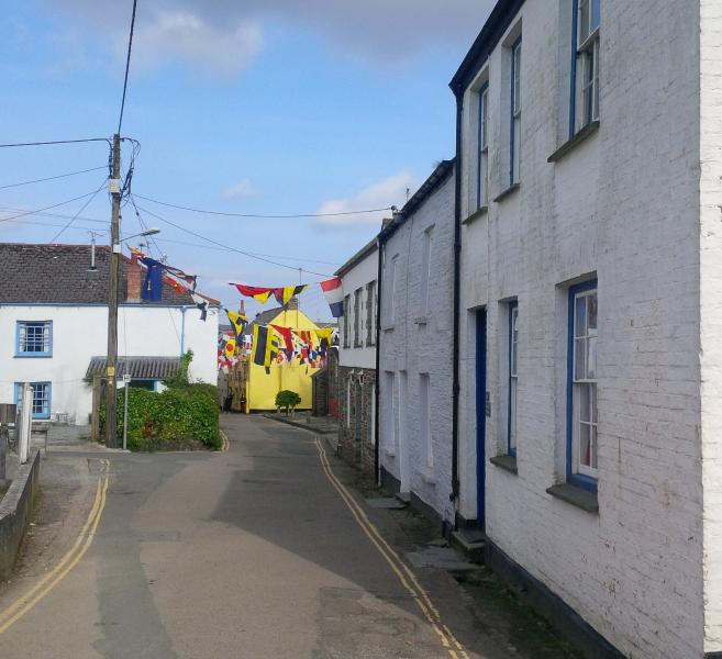 The Old Police House is the nearest one and the yellow building is The Golden Lion Pub in Padstow