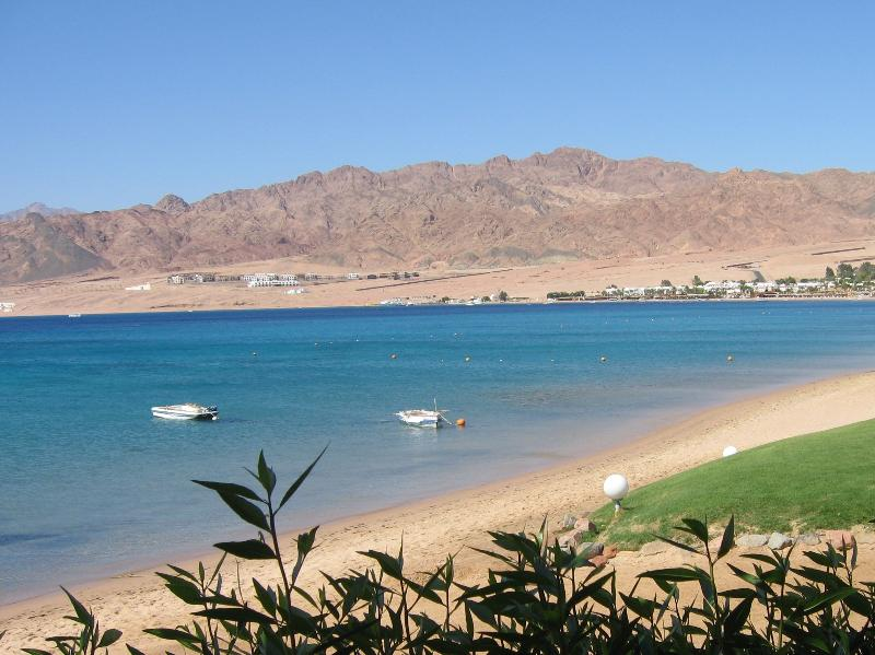 The stunning bay and Sinai Mountains which change colour throughout the day