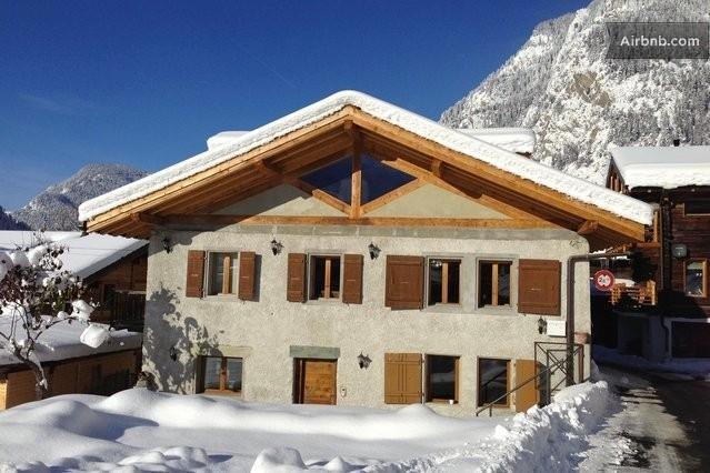 Chalet exterior in the snow