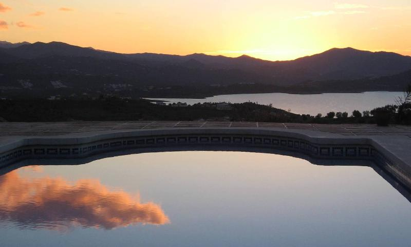 Sunrise reflected in private pool, worth getting up early for