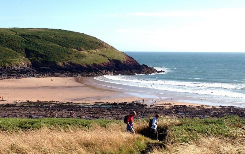 Manorbier beach. Just 2 miles form Pleasant Valley. Popular for surfing and walking the coastal path