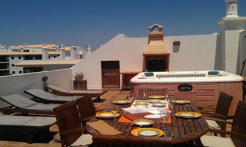 Large Private terrace with hot tub, sunbeds & furnished dining area, sea views