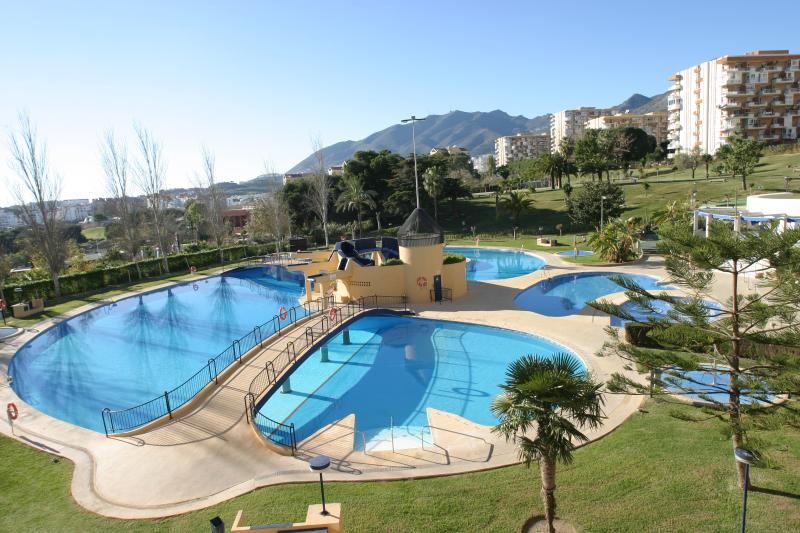View from the balcony over the pools of the complex