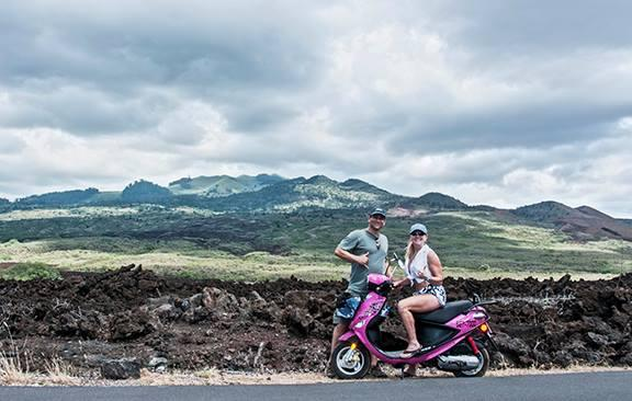 Jay and I on a scooter ride through the lava fields on the way to La Perouse Bay