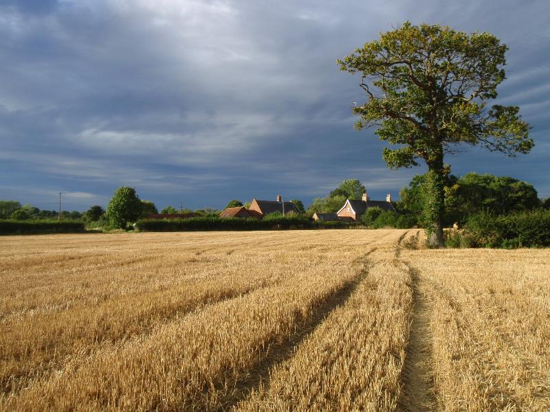 Il fienile e granaio da attraverso i campi
