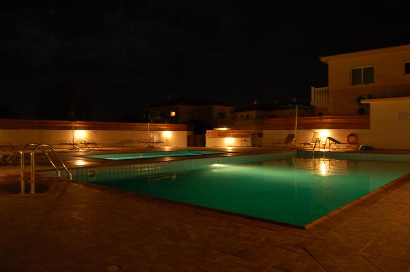 The pool looks equally inviting at night