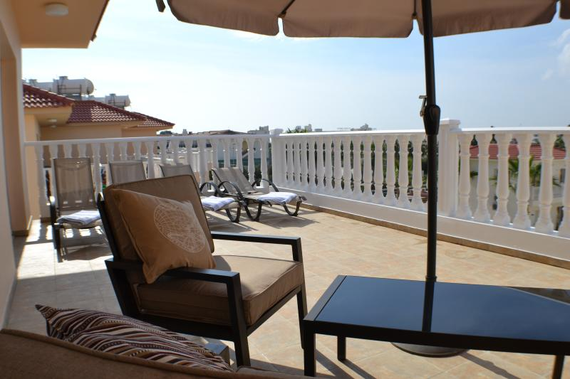 Relax on the stylish comfortable furniture in the privacy of your own huge balcony