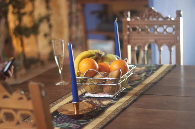 Dining room table at Chez les Roses. Relax and enjoy the sweet french lifestyle here in the south.