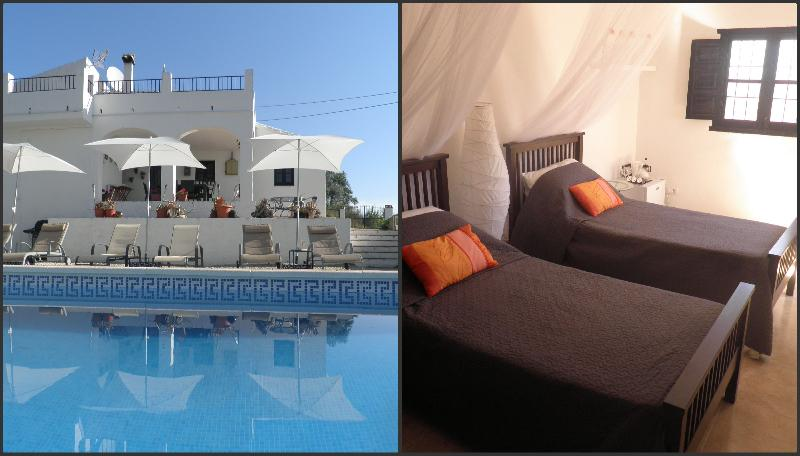 Outdoor pool area and Orange Suite bedroom