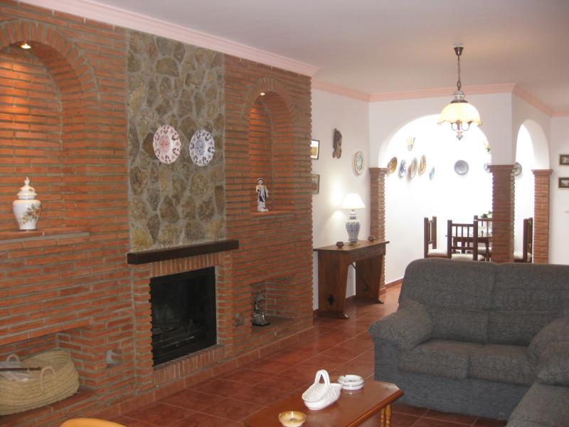 Vista del salón y chimenea