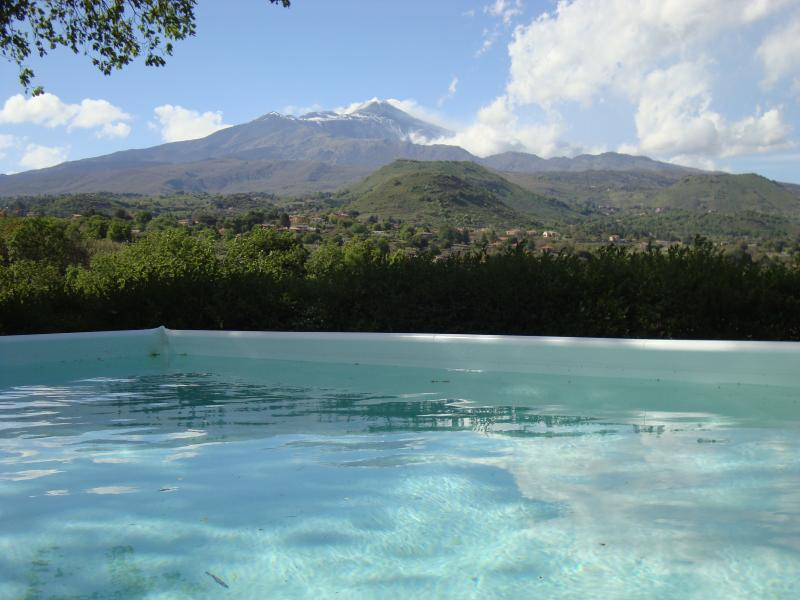 pool with views of Mount Etna