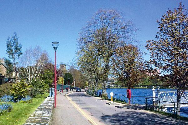 The 10 minute walk to the city centre by the riverside.