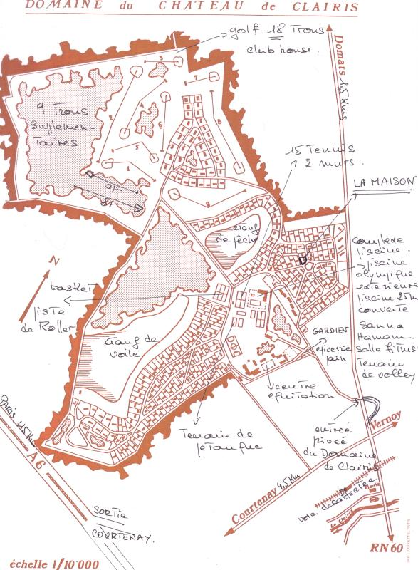 a map of the 'domaine', the house is 120 m from piscines and tennis, now 18 holes for the