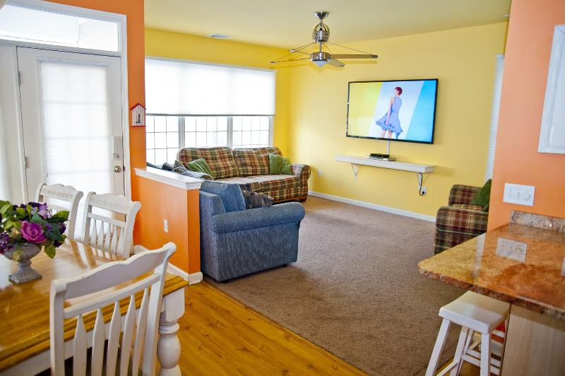 """Large Living Room with Plenty of Seating, Huge 70"""" LED HDTV with Free HD HBO!"""