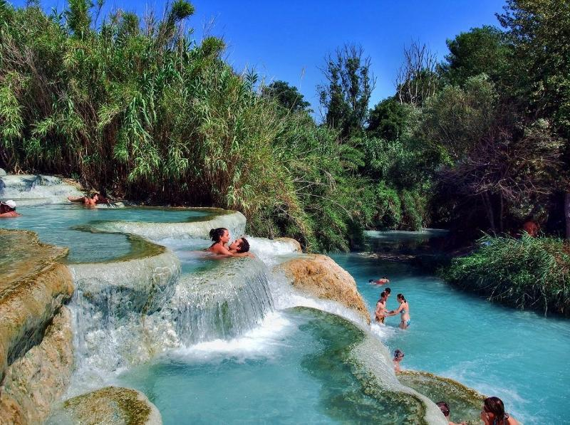Saturnia's free thermal springs. A 50-minute drive from the apartment