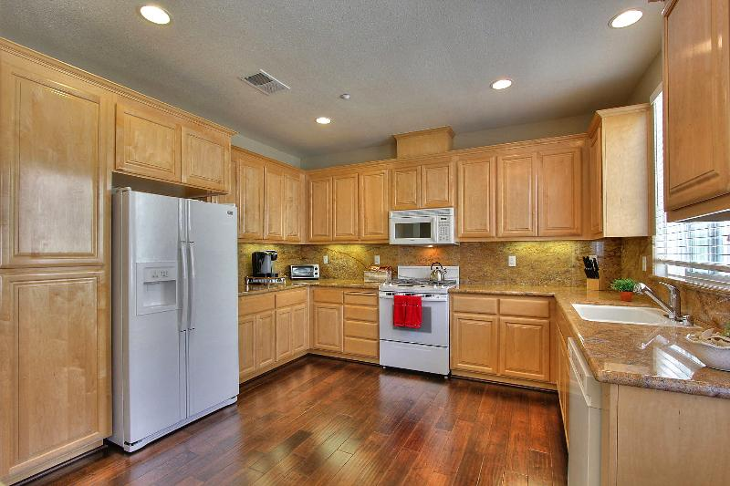 Kitchen with Keurig coffee maker and decker toaster oven