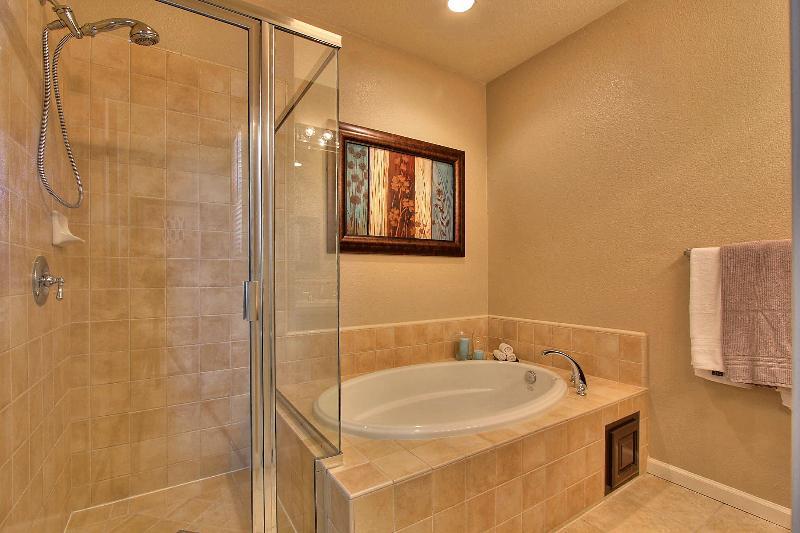 Mestre banheiro com banheira e chuveiro