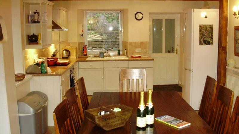 The farmhouse kitchen and dining table for 12 guests