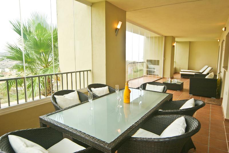 Fully furnished ample terrace with glass curtains