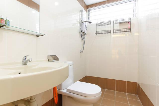 Clean bathrooms with water heater