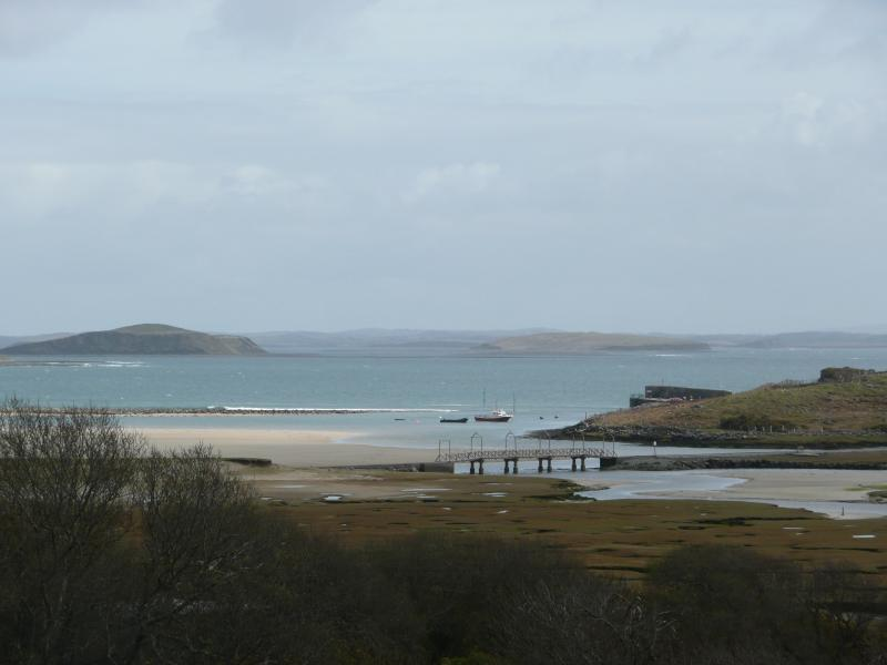 Mulranny pier and salt marsh.