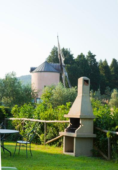 garden area with barbeque corner and view of the wind mill