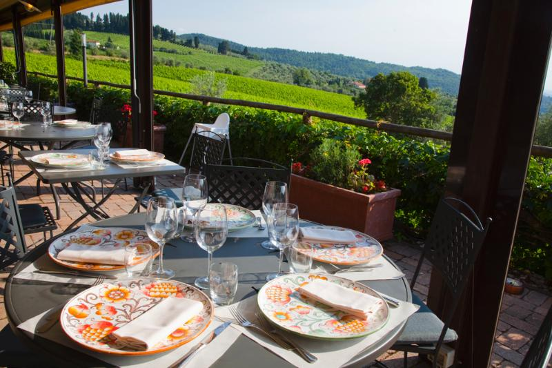 restaurant terrace view while enjoying the typical tuscan cuisine withe genuine products