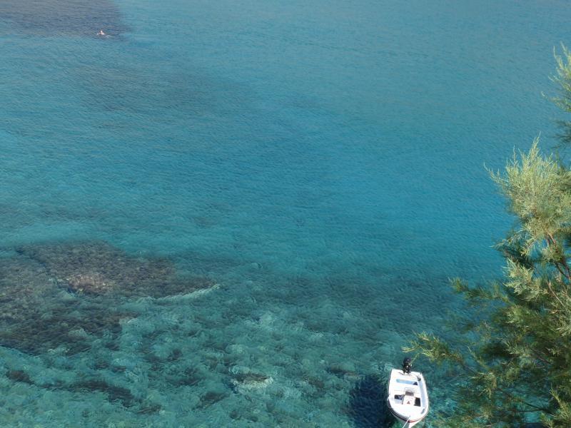 Azure blue water of the Aegean at Agali beach