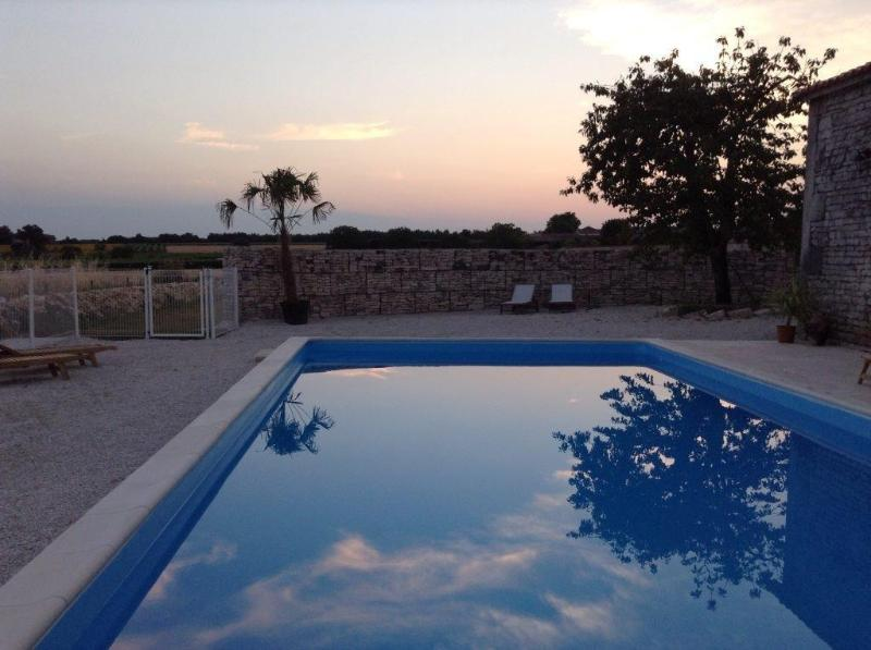 heated pool in the evening