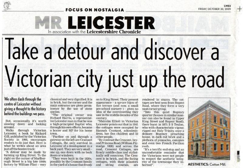 An article about the history of Victorian Leicester, and the Cotton Mill.