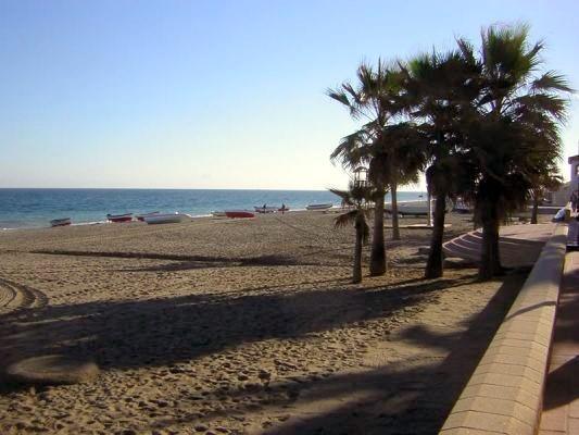San Luis de Sabinillas (Sabinillas aka Sabi) beach & Palm Trees