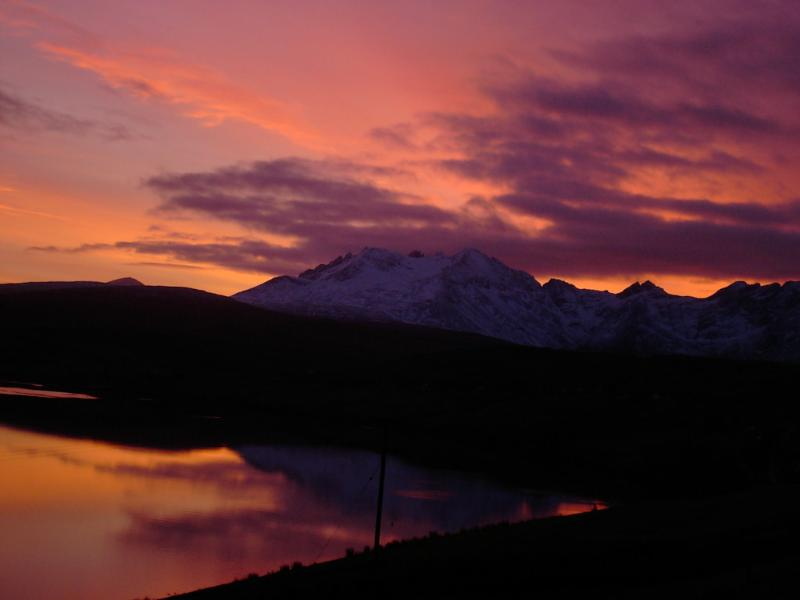 Sunrise over the Cuillin mountains as viewed from lounge