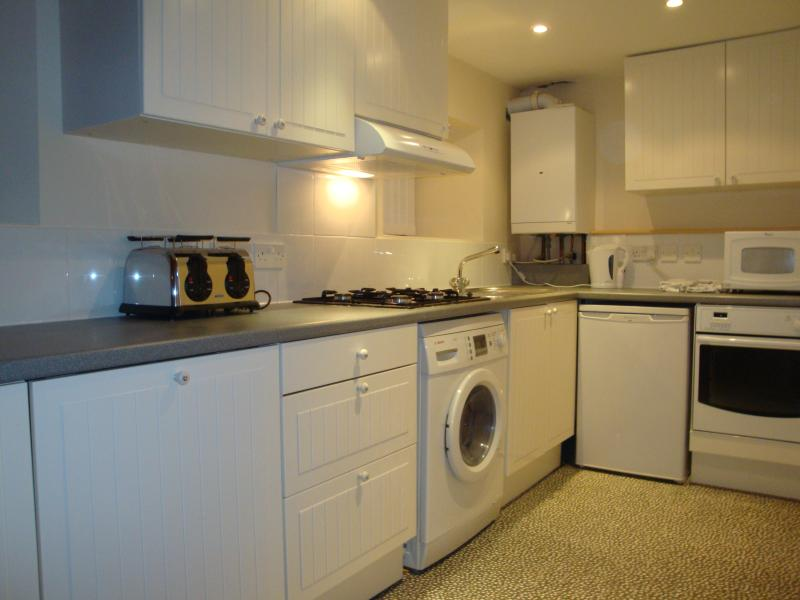 A full featured kitchen with all appliances.