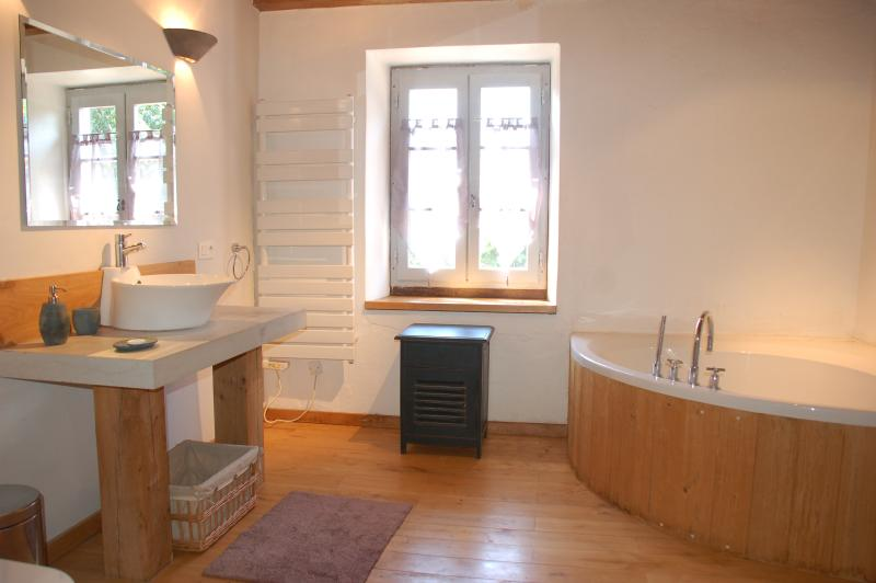 The spacious 'big tub' Bathroom - wood and stone blended to provide excellent facilities.