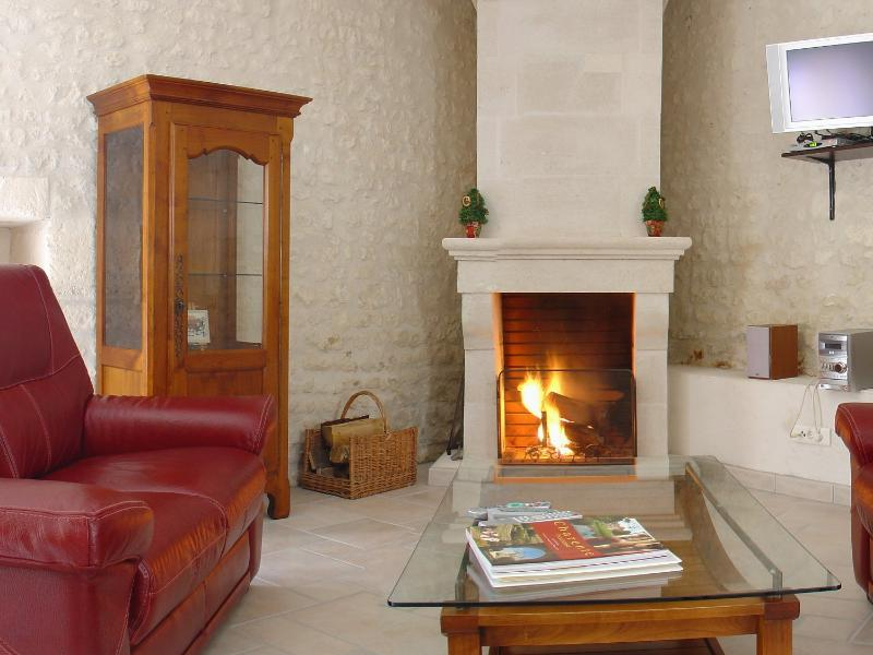 The fireplace in the living room