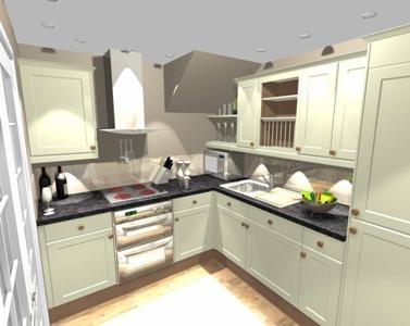 New kitchen, microwave, washing machine, dryer, fridge freezer