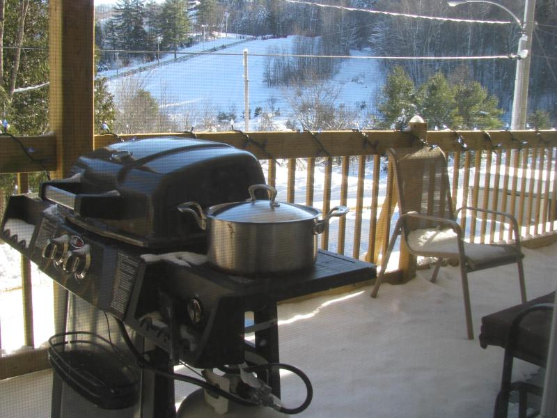 View of Ski HIlls while BBQing