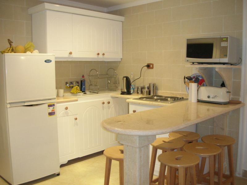 The kitchen is well equipped - the large fridge/freezer is very efficient