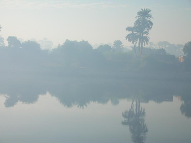 7am on the misty Nile at the start of our day cruise to Dendera