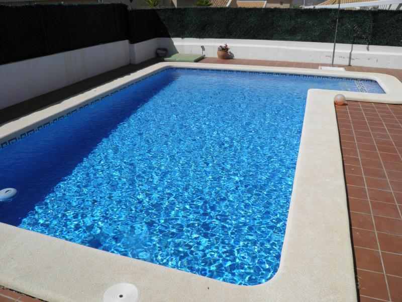 Beautiful 8 by 4 metre private pool with family friendly anti slip paving