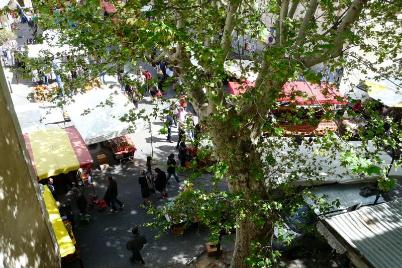 View on the market place from the window of the living room