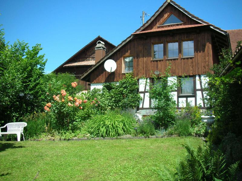 The southern face of the barn towards the Alps