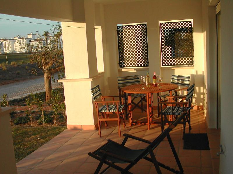 Enjoy a sundowner on the terrace or garden overlooking the 2nd fairway and the 5 star Hotel
