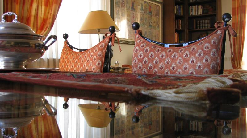 The glass table table in the Living room
